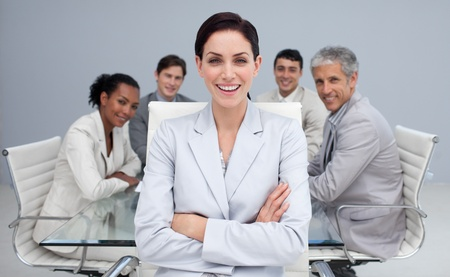 Happy businesswoman smiling in a meeting photo