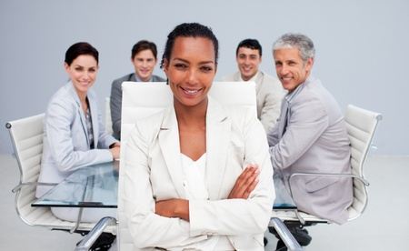 Happy Afro-American businesswoman in a meeting Stock Photo - 10258662