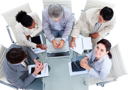High angle of a multi-ethnic business people working Stock Photo - 10241063