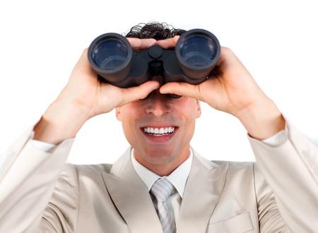 Visionary businessman predicting future success photo