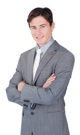 glancing: Charismatic young businessman standing