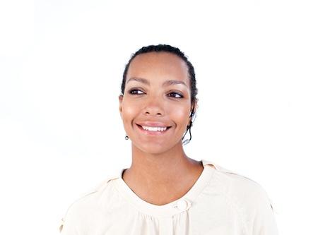 Positive businesswoman using headset  photo