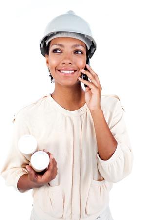 Afro-American female architect on phone Stock Photo - 10259101