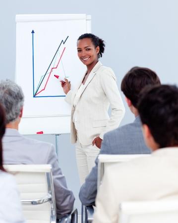 Confident businesswoman doing a presentation photo