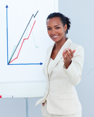 Portraif of an ethnic businesswoman giving a presentation photo