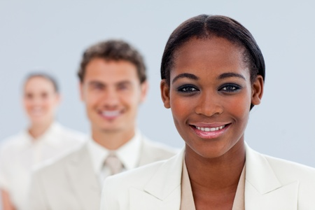 ethnic diversity: Young businesswoman and her team