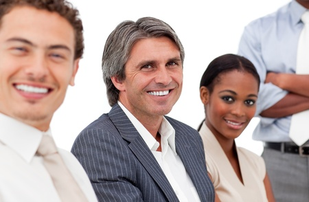 Portrait of smiling business people in a meeting Stock Photo - 10244031