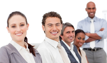 Smiling international business people at a presentation Stock Photo - 10244060