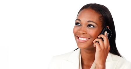 Glowing Afro-american businesswoman on phone Stock Photo - 10221881