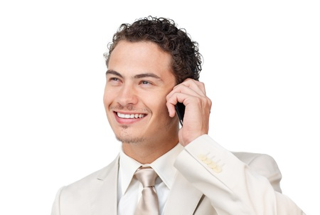 Smiling young businessman on phone  photo