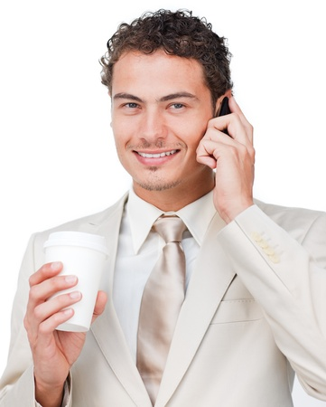 Businesswoman on phone drinking a coffee  photo