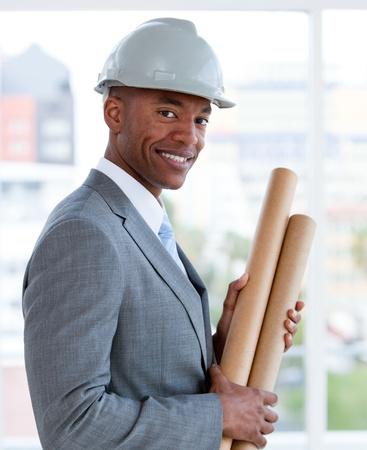 Portrait of a positive male architect photo