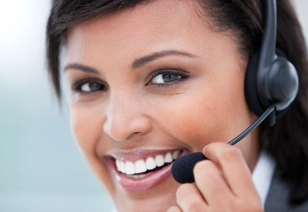 Close-up of a female customer agent at work photo