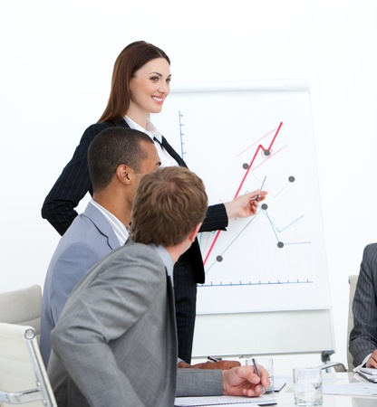 teaming: Self-assured woman doing a presentation Stock Photo