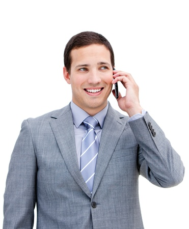 Portrait of a young businessman on phone photo