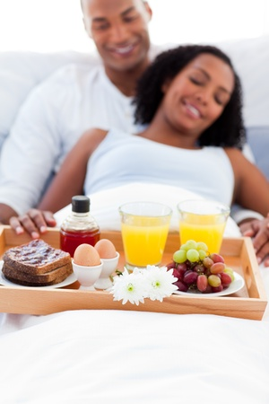 breakfasting: Focus on a breakfast tray Stock Photo