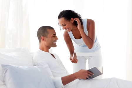 finding love: Cheerful couple finding out results of a pregnancy test