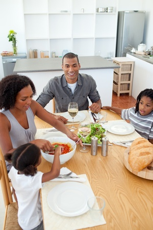 family dining: Ethnic family dining together Stock Photo