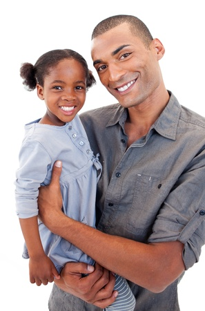 Happy Afro-American dad holding her little daughter photo
