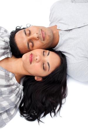 Intimate couple lying on the floor photo