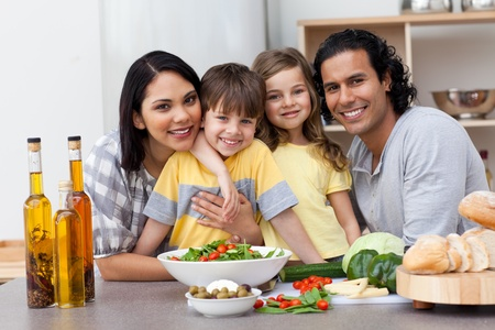 Portrait of a family in the kitchen