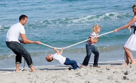 Animated family playing tug of war  Stock Photo - 10221947