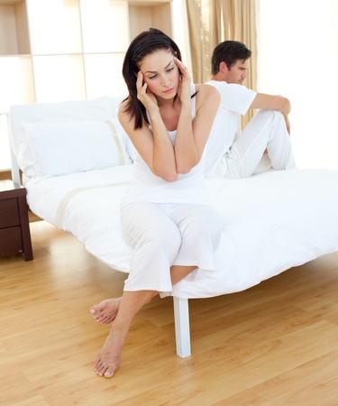 infertility: Sad couple finding out results of a pregnancy test