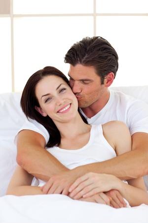 hugging couple: Intimate couple hugging