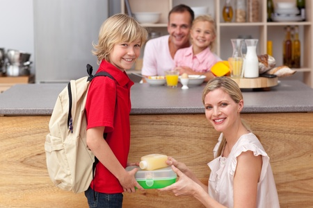 attentive: Attentive mother packing the school lunch to his son  Stock Photo