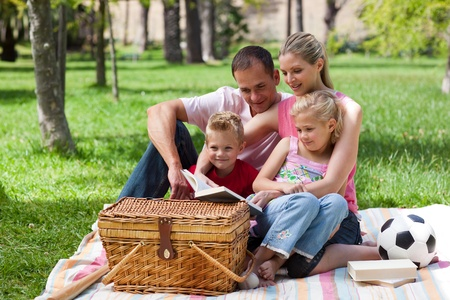 Smiling family reading while having a picnic  photo