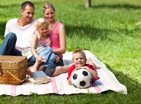 Happy parents and children picnicing in the park  Stock Photo