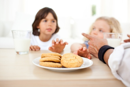 Siblings eatings biscuits and drinking milk  photo