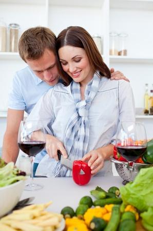 Intimate couple preparing dinner Stock Photo - 10257280