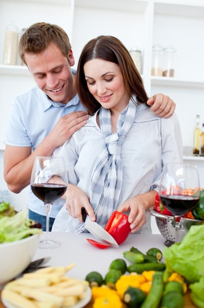 Loving couple preparing dinner Stock Photo - 10241555
