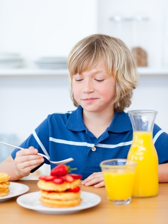 Cute boy eating waffles with strawberries Stock Photo - 10256840