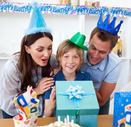 Loving parents celebrating their son's birthday Stock Photo - 10259009