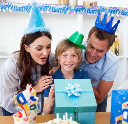 Loving parents celebrating their son's birthday Stock Photo - 10259009