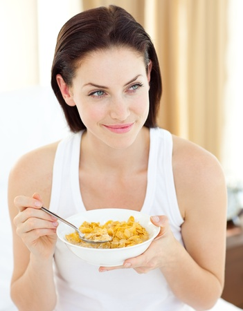 Beautiful woman having breakfast  photo