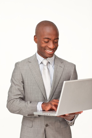 Afro-American businessman using a laptop Stock Photo - 10240557