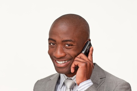 Afro-american businessman using his phone photo