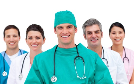 Medical team against a white background Stock Photo - 10259383