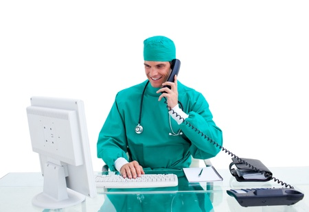 Isolated doctor in his office calling photo