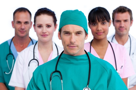 Self-assured medical staff against a white background Stock Photo - 10240670