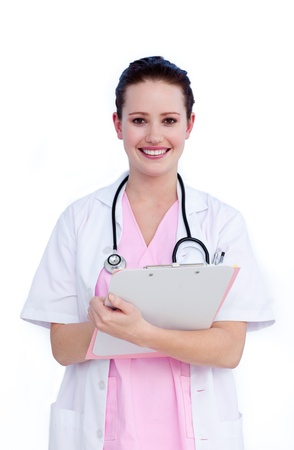 Female doctor writting a report photo