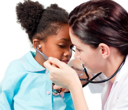 Female doctor and her patient playing with a stethoscope Stock Photo - 10259573
