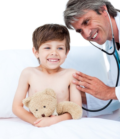 Adorable little boy attending a medical check-up  Stock Photo - 10256184