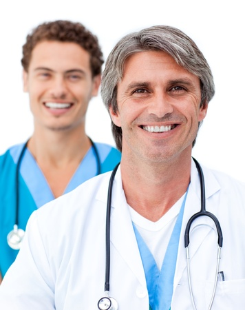 Cheerful male doctors smiling at the camera Stock Photo - 10259400