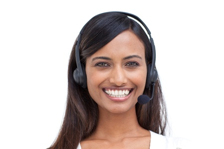 Pretty businesswoman with a headset on  photo