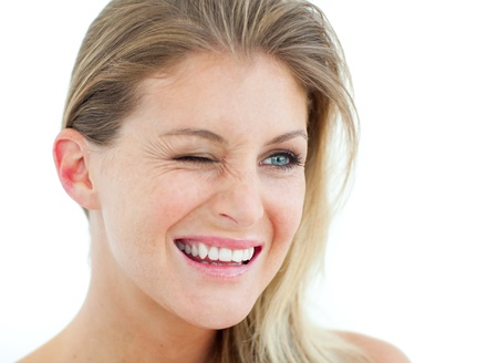 Smiling Woman winking photo