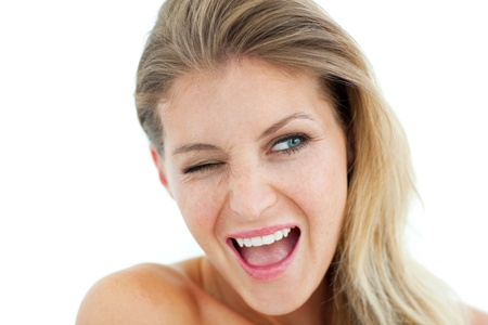 Cheerful Woman winking photo